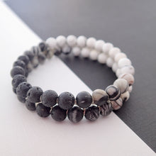 Load image into Gallery viewer, Gemstone bracelet by Pellara, Yin & Yang, made of Lava rock, Map Jasper, Black Silk Stone, Rutilated Quartz & Howlite.