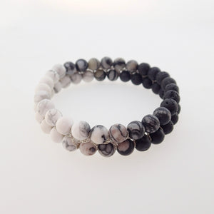 Gemstone bracelet by Pellara, Yin & Yang, The Crown, heart, Solar Plexus & base chakras, Aromatherapy bracelet