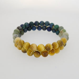 Gemstone bracelet by Pellara, inspired by stormy sea. attraction, made of azurite malachite, Tiger's eye & Indian Jade. 6mm stones