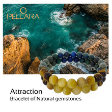 Load image into Gallery viewer, Gemstone bracelet by Pellara, inspired by stormy sea. attraction contains Gemini, Scorpio, Virgo & Capricorn zodiacs. 6, 8 & 10mm stones