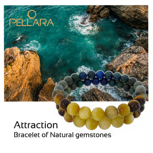 Gemstone bracelet by Pellara, inspired by stormy sea. attraction contains Gemini, Scorpio, Virgo & Capricorn zodiacs. 6, 8 & 10mm stones