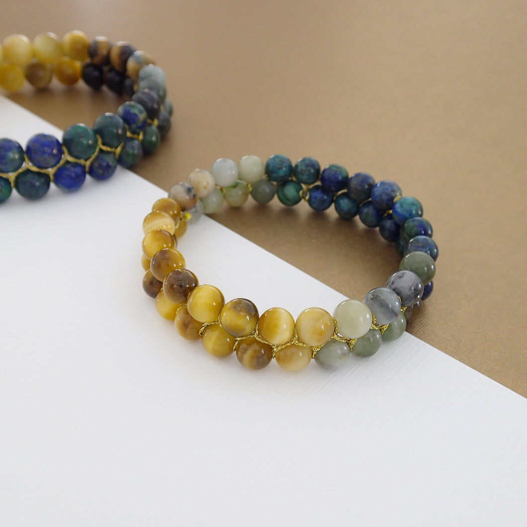 Gemstone bracelet by Pellara, inspired by stormy sea. attraction, made of azurite malachite, Tiger's eye & Indian Jade. 6, 8 & 10mm stones