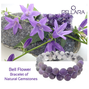 Gemstone bracelet by Pellara, inspired by bell flower, made of White rutilated quartz & Amethyst. Pisces & Leo zodiacs. 8mm