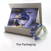 Load image into Gallery viewer, Gemstone bracelet by Pellara, inspired by Blue Jay, made of Amazonite, Sodalite, Blue Tiger eye, gift package