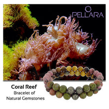 Load image into Gallery viewer, Coral Reef Gemstone bracelet by Pellara, shows colour combination of corals, made of Tiger Eye, Unakite, Rhodonite and Pyrite