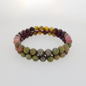 made of Tiger Eye, Unakite, Rhodonite and Pyrite . Gemini, Scorpio, Leo, Virgo & Libra zodiacs. 6 & 8mm stones