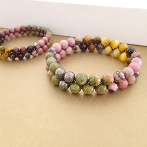 Coral Reef Gemstone bracelet by Pellara, shows colour combination of corals, made of Tiger Eye, Unakite, Rhodonite and Pyrite