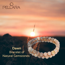 Load image into Gallery viewer, Gemstone jewellery set, Dawn, by Pellara. Made of Sunstone and Moonstone. Birthstone gift for Cancer zodiac. The Crown and sacral chakra.