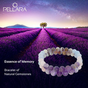 Gemstone bracelet, Essence of Memory by Pellara. Made of Agate, Amethyst and Beryl. The Crown, Throat and base chakras.