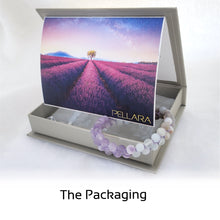 Load image into Gallery viewer, Gift package for Gemstone bracelet, Essence of Memory by Pellara. Made of Agate, Amethyst and Beryl. The Crown, Throat and base chakras.