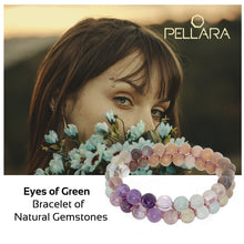 Load image into Gallery viewer, Eyes of Green by Pellara. Made of Silver, Sunstone, Moonstone & Flourite. Birthstone gift for Cancer, Capricorn & Pisces zodiacs. The Crown, Third Eye, Throat, Heart and Sacral chakras.