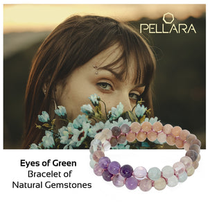 Eyes of Green by Pellara. Made of Silver, Sunstone, Moonstone & Flourite. Birthstone gift for Cancer, Capricorn & Pisces zodiacs. The Crown, Third Eye, Throat, Heart and Sacral chakras.