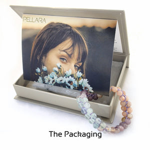 gift package for Eyes of Green by Pellara. Made of Silver, Sunstone, Moonstone & Flourite. Birthstone gift for Cancer, Capricorn & Pisces zodiacs.