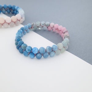 Gemstone Bracelet, Flowing in the deep by Pellara. Made of Silver, Apatite, Larimar, Morganite & Jasper. 6mm & 8mm