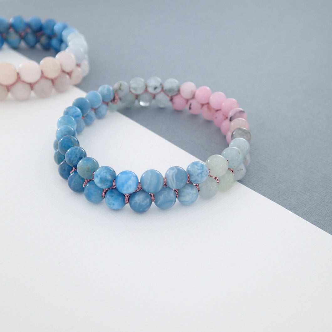 Gemstone Bracelet, Flowing in the deep by Pellara. Made of Apatite, Larimar, Morganite & Jasper. 6mm & 8mm