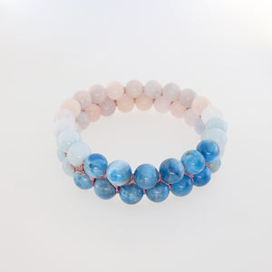 Gemstone Bracelet, Flowing in the deep by Pellara. Made of Apatite, Larimar, Morganite & Jasper. 6mm & 8mm. Birthstone gift for Leo, Virgo, Scorpio & Pisces zodiacs