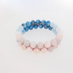 Gemstone Bracelet, Flowing in the deep by Pellara. 6mm & 8mm. The Crown, Third Eye, Throat & Heart chakras