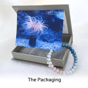 Gift package for gemstone Bracelet, Flowing in the deep by Pellara. Made of Apatite, Larimar, Morganite & Jasper. Birthstone gift for Leo, Virgo, Scorpio & Pisces zodiacs