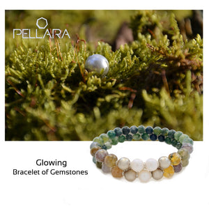 Gemstone bracelet by Pellara, shades of green in Glowing, made of White moss & Indian agate. Gemini zodiac. 8mm & 6mm