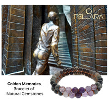 Load image into Gallery viewer, Gemstone bracelet, Golden memories by Pellara. Made of Pyrite, Bronzite, Cat's Eye, Hawk's eye, Labradorite & Amethyst