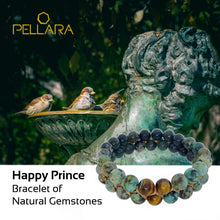 Load image into Gallery viewer, Gemstone Bracelet, Happy prince by Pellara. Made of Agate, Turquoise & Tiger Eye. The Crown, Heart, Sacral & Navel chakras.