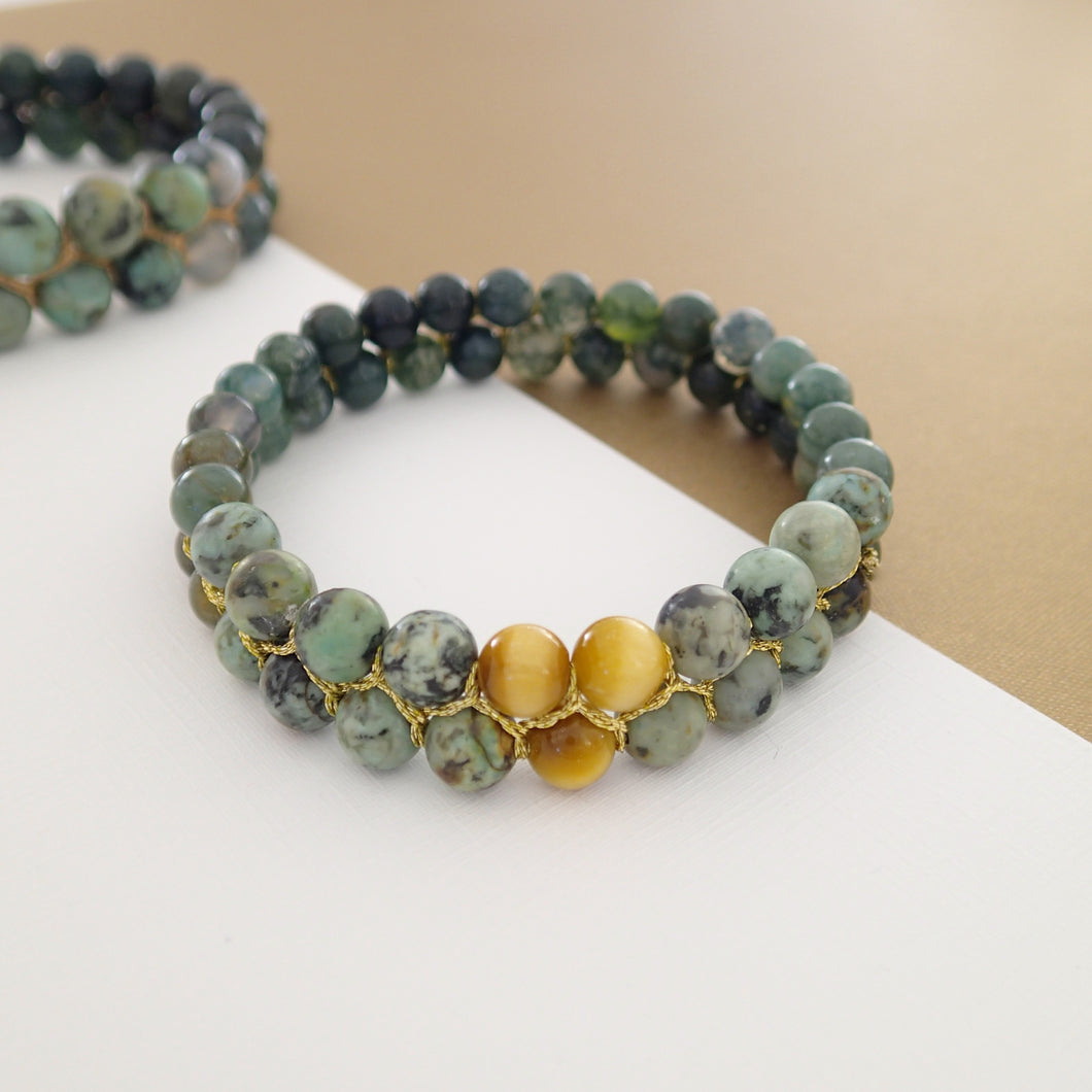Gemstone Bracelet, Happy prince by Pellara. Made of Agate, Turquoise & Tiger Eye. Birthstone gift for Leo, Virgo, Scorpio & Gemini zodiacs.