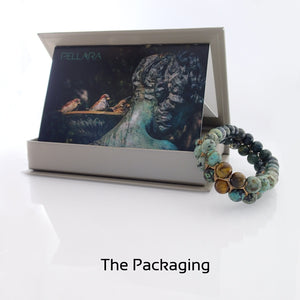 Gift package of Gemstone Bracelet, Happy prince by Pellara. Made of Agate, Turquoise & Tiger Eye. Birthstone gift for Leo, Virgo, Scorpio & Gemini zodiacs.