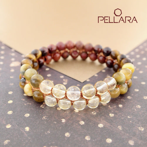 Chakra gemstone bracelet for The Solar Plexus (Navel) Chakra, designed by Pellara. Made in Canada. Contains BloodStone, Citrine and Tiger Eye crystals.
