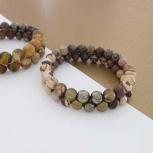 Gemstone jewellery set by Pellara, Oasis, made of Pyrite, Smoky Quartz, Jasper & Tiger eye. Leo, Virgo, Scorpio, Sagittarius, Capricorn & Gemini zodiacs.
