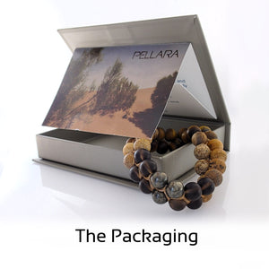 Gift Package for gemstone Jewellery set by Pellara, Oasis, made of Pyrite, Smoky Quartz, Jasper & Tiger eye. The Crown, Third eye, Sacral & Navel chakra