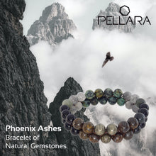 Load image into Gallery viewer, Gemstone bracelet by Pellara, myth of Phoenix ashes, made of Pyrite, Rutilated Quartz, Grey Quartz, Obsidian, Bronzite & Turquoise