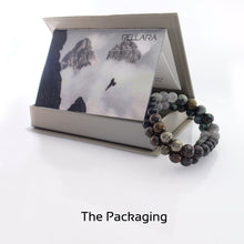 Load image into Gallery viewer, Gift Package for Gemstone bracelet by Pellara, myth of Phoenix ashes, made of Pyrite, Rutilated Quartz, Grey Quartz, Obsidian, Bronzite & Turquoise