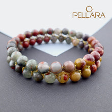 Load image into Gallery viewer, Chakra gemstone bracelet for The Sacral Chakra, designed by Pellara. Made in Canada. Contains BloodStone and Mookaite jasper crystals.