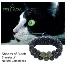 Load image into Gallery viewer, Gemstone bracelet, Shades of Black by Pellara. Made of Jade, Obsidian, Agate & onyx. The Heart & Base chakras.