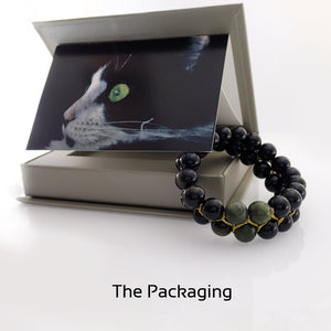 Gift Package for Gemstone bracelet, Shades of Black by Pellara. Made of Jade, Obsidian, Agate & onyx. The Heart & Base chakras.