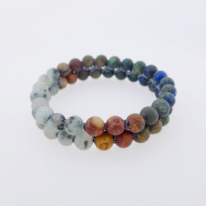 Gemstone Bracelet, Summer Breeze by Pellara. Made of Picasso Jasper, Sesame Jasper & Azurite Malachite. 6mm