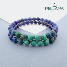 Load image into Gallery viewer, Chakra gemstone bracelet for The Third Eye Chakra, designed by Pellara. Made in Canada. Contains Malachite, Azurite Malachite, Lapis Lazuli and Sodalite crystals.