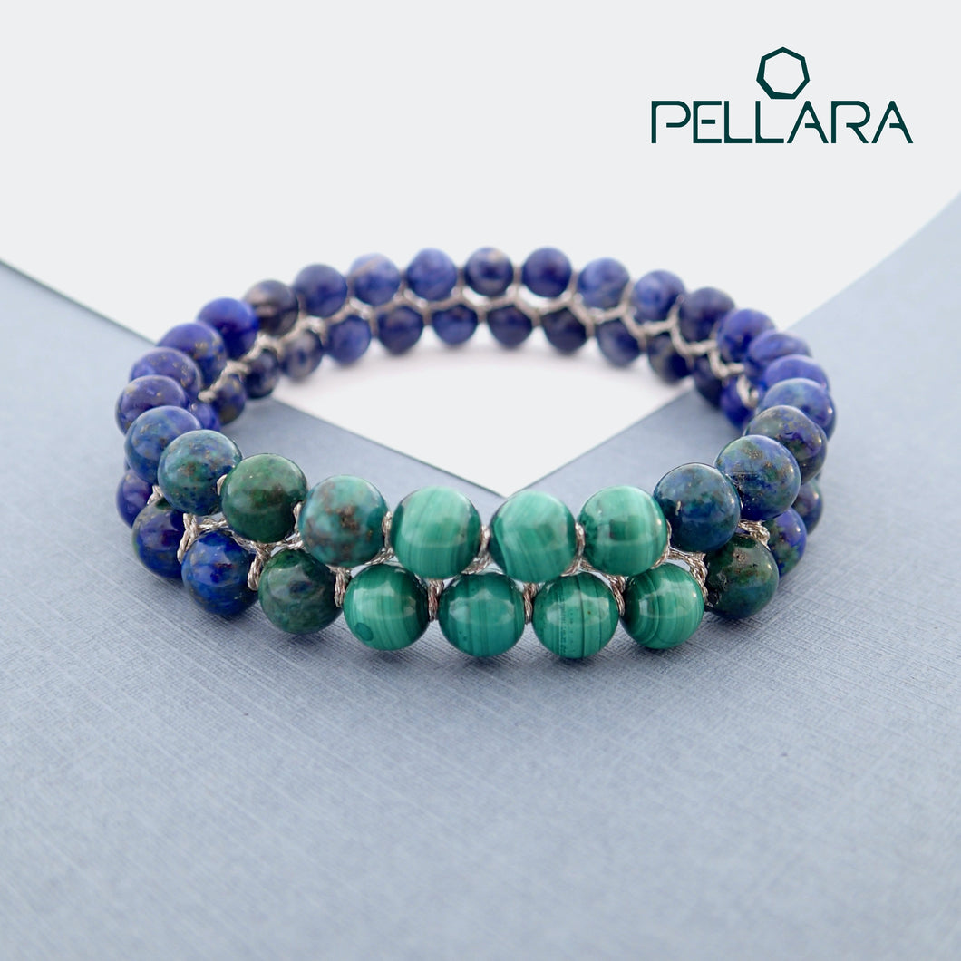 Chakra gemstone bracelet for The Third Eye Chakra, designed by Pellara. Made in Canada. Contains Malachite, Azurite Malachite, Lapis Lazuli and Sodalite crystals.