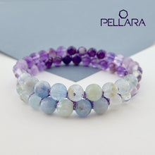 Load image into Gallery viewer, Chakra gemstone bracelet for The Throat Chakra, designed by Pellara. Made in Canada. Birthstone gift for Aquarius, Sagittarius, Aries, Scorpio, Taurus & pisces zodiacs.