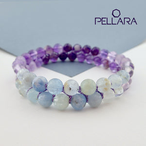 Chakra gemstone bracelet for The Throat Chakra, designed by Pellara. Made in Canada. Birthstone gift for Aquarius, Sagittarius, Aries, Scorpio, Taurus & pisces zodiacs.