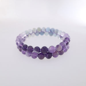 Chakra gemstone bracelet for The Throat Chakra, designed by Pellara. Made in Canada. Contains Amethyst, Aquamarine & Beryl crystals.