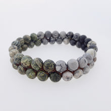 Load image into Gallery viewer, Gemstone bracelet by Pellara, treasure, made of Green Zebra Jasper, Map Jasper, Black Silk Stone & Pyrite.
