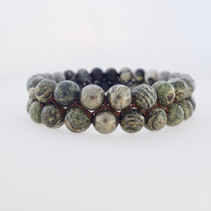 Gemstone bracelet by Pellara, treasure, made of Green Zebra Jasper, Map Jasper, Black Silk Stone & Pyrite.