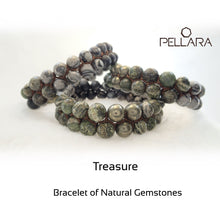 Load image into Gallery viewer, Gemstone bracelet by Pellara, treasure. Scorpio, Leo, Virgo & Aries zodiac. Chakra stone for The Crown, Heart, Solar plexus & root.
