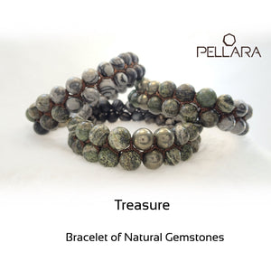 Gemstone bracelet by Pellara, treasure. Scorpio, Leo, Virgo & Aries zodiac. Chakra stone for The Crown, Heart, Solar plexus & root.