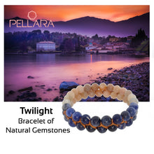 Load image into Gallery viewer, Gemstone bracelet, Twilight by Pellara. Made of Sunstone, Moonstone, Blue Tiger Eye and Sodalite. Birthstone gift for Cancer, Gemini & Pisces zodiacs