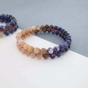 Gemstone bracelet, Twilight by Pellara. Made of Sunstone, Moonstone, Blue Tiger Eye and Sodalite. Birthstone gift for Cancer, Gemini & Pisces zodiacs