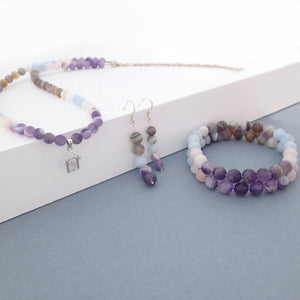 Gemstone Jewellery set, Essence of Memory by Pellara. Made of Silver,  Agate, Amethyst and Beryl, The Crown, Throat and base chakras