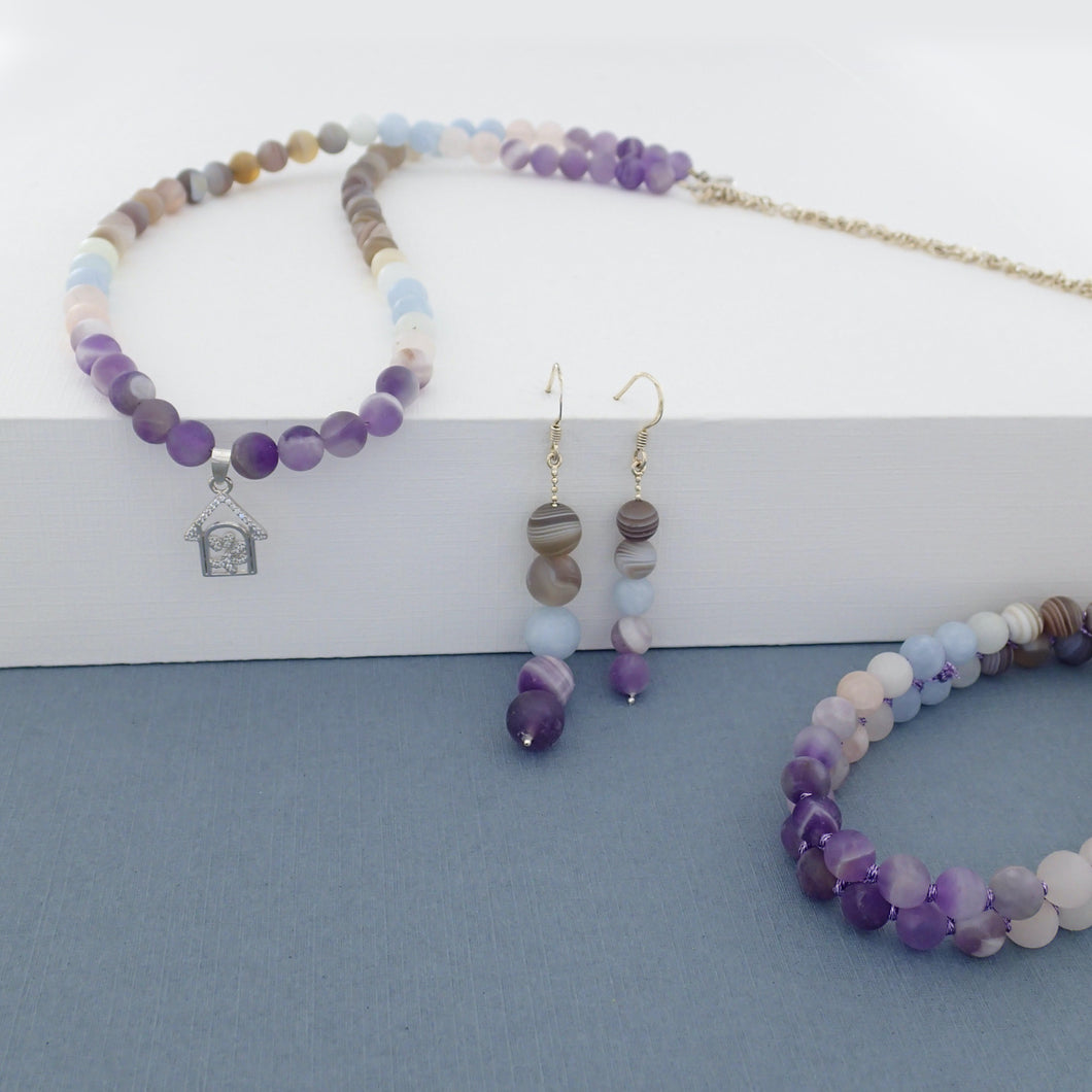 Gemstone Jewellery set, Essence of Memory by Pellara. Made of Silver,  Agate, Amethyst and Beryl. Birthstone gift for Aries, Leo, Virgo and Pisces zodiacs