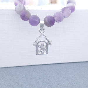 Silver pendant, Gemstone Jewellery set, Essence of Memory by Pellara. Made of Silver, Agate, Amethyst and Beryl.